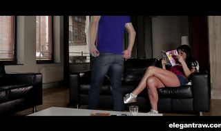 Cheerful brunette woman Simony Diamond's round ass barely accommodates a thick and long schlong