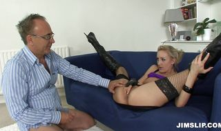 Spicy blonde minx Angel Long gets her butt teased and fucked for the very first time