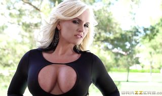 Lewd blonde Alena Croft is deserved to be fucked in the ass because she is sexy