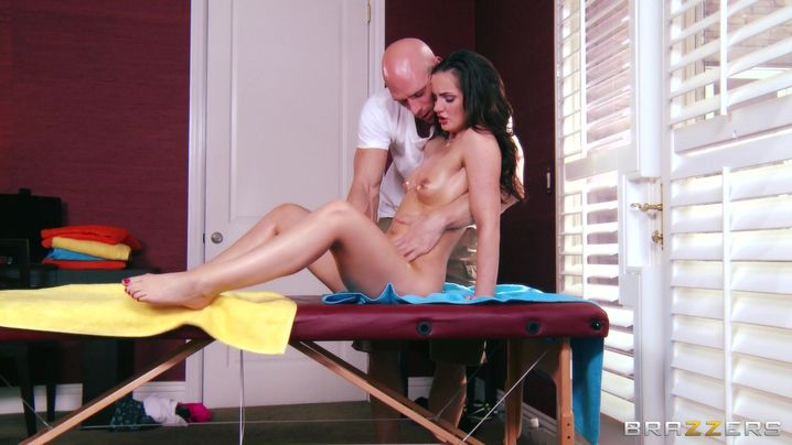 Passionate brunette Lily Carter got her ass filled up with a rock hard shlong as deep as it was possible