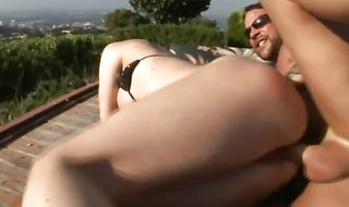 Dishy busty hottie Kelly Divine got her booty licked from the back and then got a love rocket up her bum