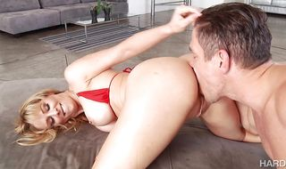 Divine girlie Cherie DeVille with huge tits is getting fucked her booty by fuckmate