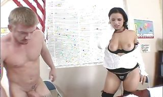 Lustful brunette babe Mia Bangg fondles her meaty ass while cheerfully giving a blowjob