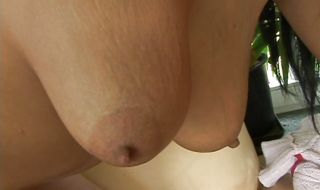 Racy brunette floozy Julie M got fucked in the bum for the first time ever and liked it a lot