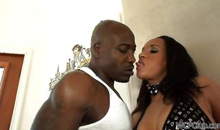 Vigorous ebony girlie Tiffany Taylor is getting bum banged while her husband is out of town