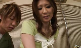 Prurient girlfriend Nanako Yoshioka with huge tits has her butt fingered after a classy dinner