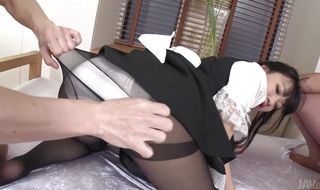 Pretty maid Yui Ayase got a hard packing monster up her tight bum until she cummed