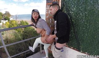 Dishy idol Sharon Lee gets her booty high so pecker can get deep inside her ass