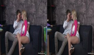 Remarkable blonde floosy Shirley Harris with great natural tits receives a thorough butt licking