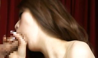 Lusty babe Haruki Kato drops kisses on his lips then gets butt fucked intensely