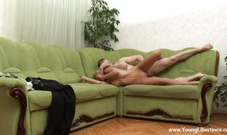 Engaging Nancy gives head in cab before having her ass fingered
