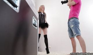 Astonishing blonde Olivia Grace is banged from behind in a hardcore anal slamming scene