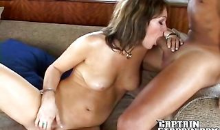 Luscious gal Taylor gave a blowjob to male and then he booty fucked her from behind