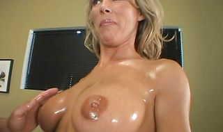 Horny Kayla Synz with great tits enjoys taking rock hard chili dog deep down her throat and up her tight bum