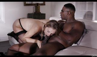 Hot-tempered blonde maid is getting man's huge lovestick in her soft butt from the back