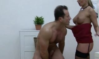 Charming blonde Cindy Dollar is getting ass fucked and covered with cum