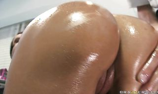 Aroused chick Claudia Valentine got booty fucked from the back because she asked for it